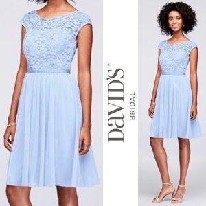 DAVID'S BRIDAL ice blue short lace and mesh dress